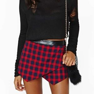 Nasty Gal Red Plaid Skort with Vegan Leather Waist